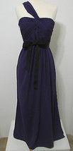 Vera Wang Gown White Purple Cross One Shoulder Ruched Black Ribbon Trim ... - $269.99
