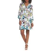 Eliza J  Womens Blue White Dress Long Sleeve Spring Floral V Neck Sz 4 NWT - $67.31