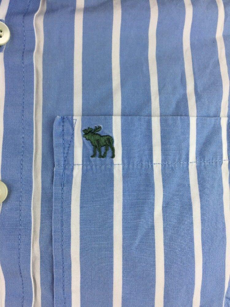 Men's Abercrombie Blue & White Striped Button Up Dress Shirt Size XL