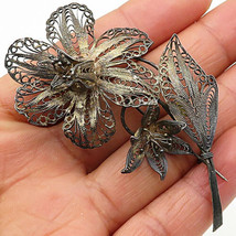 925 Sterling Silver - Vintage Dark Filigree Nature Flower Brooch Pin - B... - $46.05