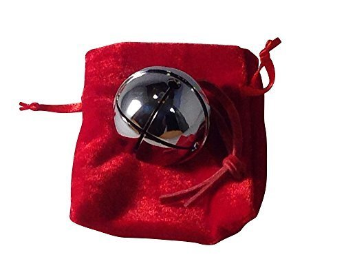 Medium Silver Santa Reindeer Polar Express Sleigh Bell with Real Leather Harness
