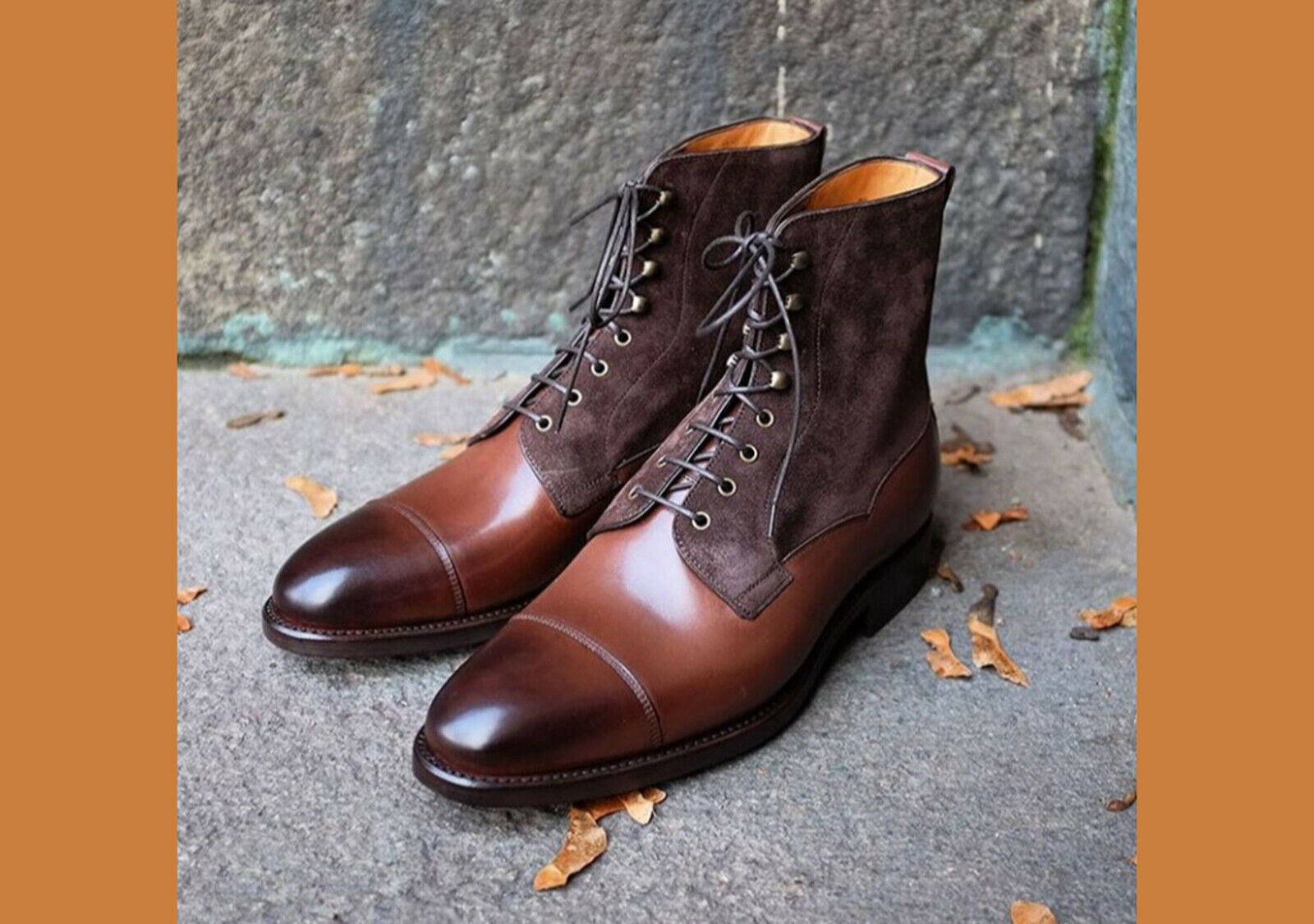 Oxford Lace Up Brown Tone Premium Suede Leather Cap Toe High Ankle Men Boots image 2