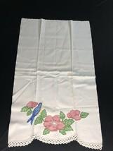 vtg Embroidered Linen Tea Kitchen Finger Face Towels Pansy Crochet Doilies - $19.80