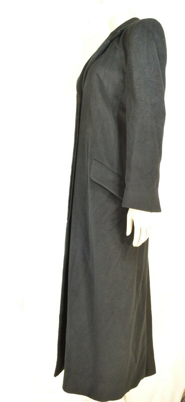 Christian Dior coat SZ 4 black full length straight 100% cashmere vintage US