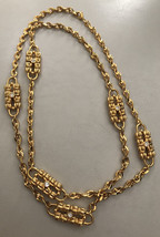 Vintage JRK Gold Tone and Rhinestones Chain Necklace - $65.00