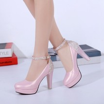 83h023 sweet strappy ankle pumps with sequin back US Size 3-10, pink - $58.80