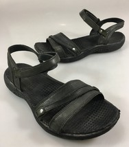 Merrell Womens 6 Dahlia Black Leather Sport Sandals Ankle Strap - $34.79