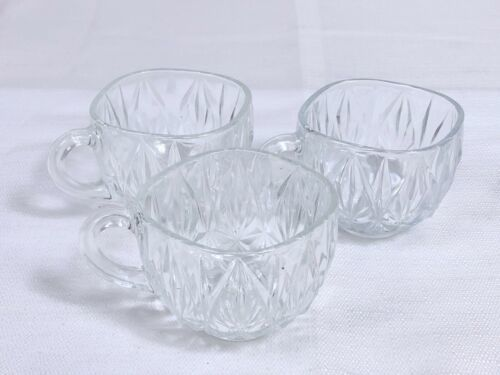 Primary image for Lot of 3 Clear PUNCH CUPS - WILLIAMSPORT  HAZEL ATLAS Pressed Glass Replacements