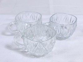 Lot of 3 Clear PUNCH CUPS - WILLIAMSPORT  HAZEL ATLAS Pressed Glass Repl... - $9.79
