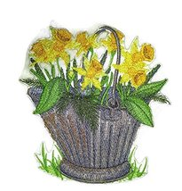 Custom and Unique Spring Blooms With Vase[ Pretty Pale Daffodil ] Embroi... - $14.84