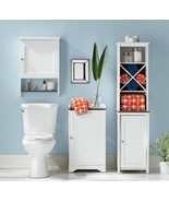 Narrow Bathroom Storage Cabinet Towel Linen Tower Bath Bedroom Cupboard ... - $144.49
