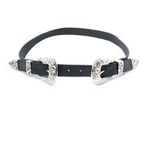 Ladies Vintage Style Women's Double Silver Buckle Belt PU Leather Waist ... - $11.60+