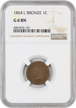 1864-L 1c NGC Good-06 BN (L on Ribbon) Popular key variety. - Indian Cent - $77.60