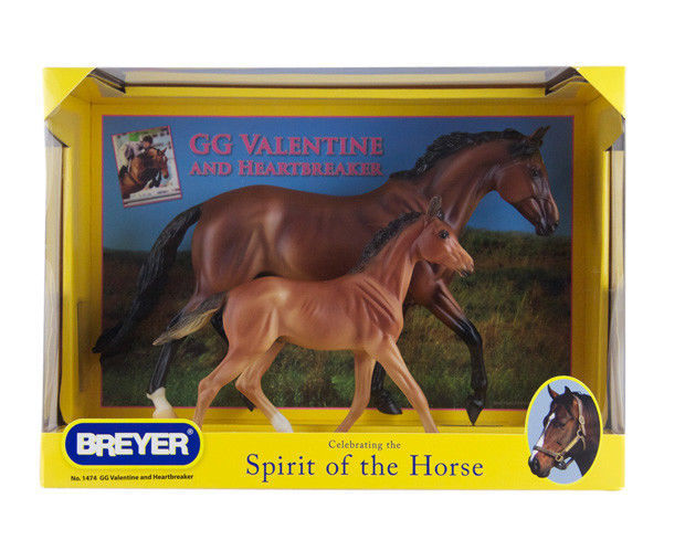 Breyer glossy GG Valentine & Heartbreaker horses1474 mare and foal Scale:1:9 <> - $72.55