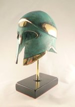 Ancient Greek Bronze Museum Replica of Corinthian Helmet on a Marble Bas... - $192.56