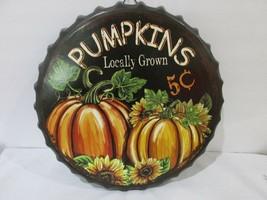 Fall Thanksgiving PUMPKINS Metal Bottle Cap Hanging Wall Sign Door Plaqu... - $18.99
