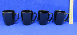 Corelle Coffee Cups Mugs Glossy Black Coordinates Stoneware Solid Set of 4 - $16.82