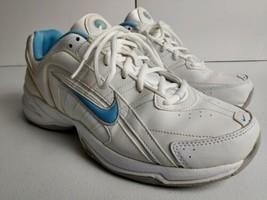 Nike T-Lite VIII Leather Walking Running Shoes Women's Size 11 White/Blue  - $28.84