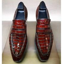 Handmade Men Burgundy Crocodile Leather Loafer Shoes image 3