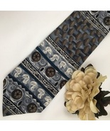 Jerry Garcia  Blue & Taupe Print men's silk business tie - $19.95