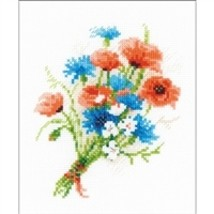 RIOLIS Counted Cross Stitch Kit, Bouquet With Cornflowers, Kit #R1576 - $12.21