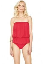 NWT GOTTEX red mesh 12 contour blouson bandeau one piece swimsuit flatte... - $77.59