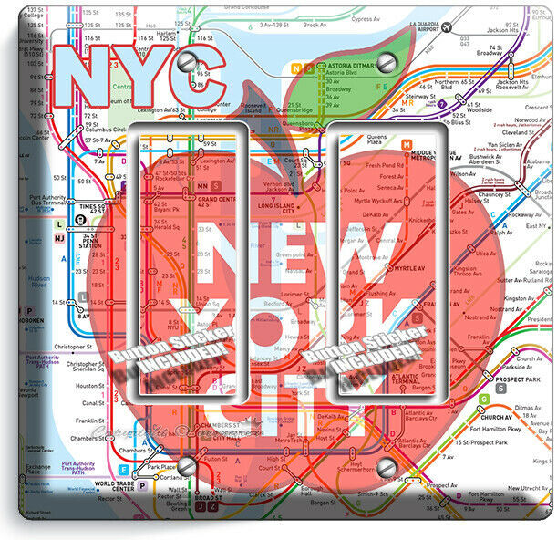 NYC NEW YORK CITY BIG APPLE SUBWAY MAP LIGHT SWITCH OUTLES WALL PLATE ROOM DECOR image 7