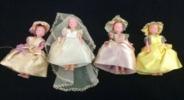 Vintage Bride Bridesmaids Hard Plastic Celluloid Dolls Molded Hair Joint... - $23.33