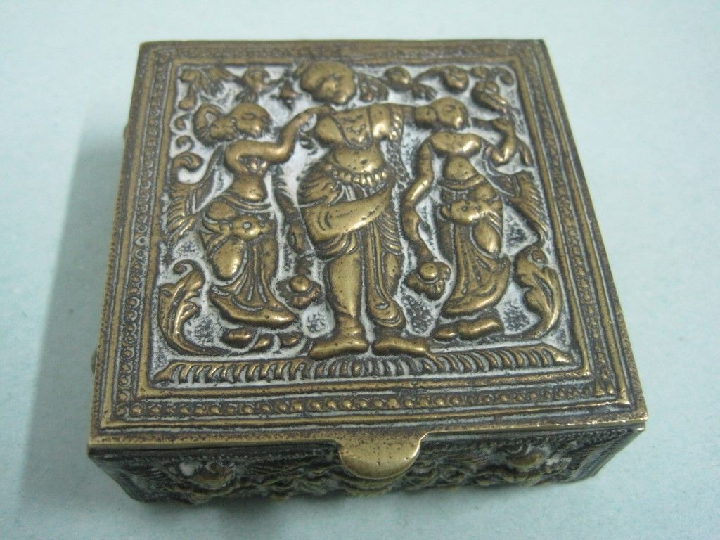 Primary image for Antique Bronze Jewelry Box Decorative with ladys Indian pictures