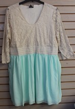 NEW WOMENS PLUS SIZE 3X IVORY LACE TOP W LIGHT GREEN BOTTOM SMOCKED SUMM... - $29.02