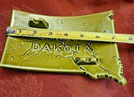 Vintage Green Ceramic South Dakota Ashtray - Has Map with Cities shown. image 5