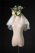 Ivory Shoulder Length Wedding Bridal Veils Layer Floral Lace Tulle Bridal Veils  image 1