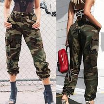 2018 Women Camouflage Pants Zipper Fitness Casual Stretch Cargo Pants