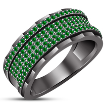 Green Sapphire Men's Band Anniversary Ring Black Gold Plated Pure 925 Si... - $146.98