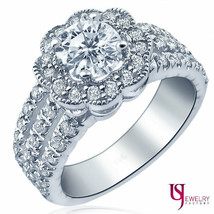 1.59 TCW Flower Halo Round Cut Diamond Engagement Ring 14k White Gold - €2.918,92 EUR