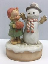 Vtg Enesco Good Morning Mr Snowman Musical Ceramic Christmas Figure Frosty 7.5x5 - $39.60