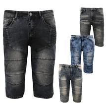 LR Scoop Men's Distressed Denim Fade Wash Slim Fit Moto Skinny Jean Shorts