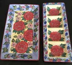 Lot2 Chrysanthemum SERVING PLATTERS DISHES Lesal Studio CERTIFIED Intern... - $39.59