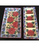 Lot2 Chrysanthemum SERVING PLATTERS DISHES Lesal Studio CERTIFIED Intern... - $39.59