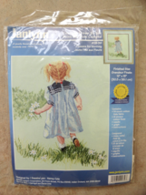 Counted Cross Stitch Kit Flowers for Mommy 12 by 15 Janlynn 2000 Little Girl - $14.99