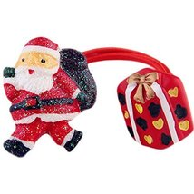 Set of 5 Cute Santa Claus And Gift Box Hair Rope Ponytail Holders image 1