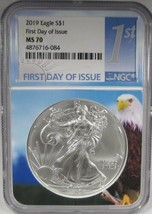 2019 Silver Eagle NGC MS70 First Day Issue - Eagle Core Coin AJ783 - $95.72