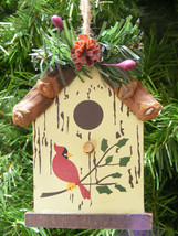 WOOD PINE BRANCH BIRDHOUSE w/PINE CONE & HOLLY BERRIES CHRISTMAS TREE OR... - $5.88