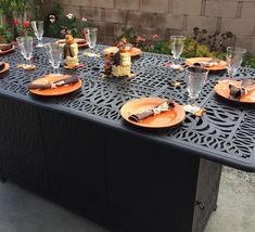 Outdoor Propane Fire Pit bar height double burner table Elisabeth aluminum patio image 4