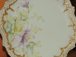 """Antique Coiffe Limoges France 9"""" Plate Hand Painted green star mark pre-... - $34.99"""