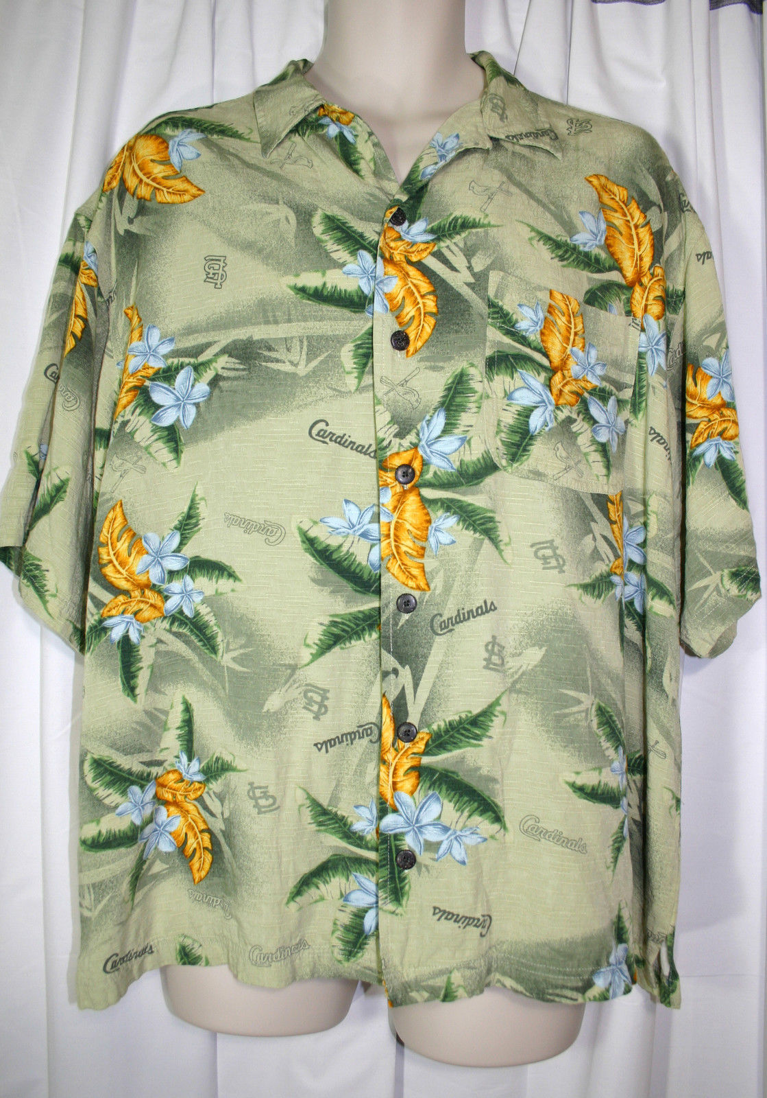 Primary image for Genuine Merchandise MLB St Louis Cardinals Green Floral Hawaiian Shirt Mens L