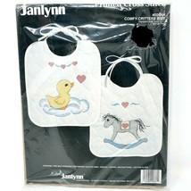 Janlynn Comfy Critters Bibs Printed Cross Stitch Set of 2 Kit 00-364 Sea... - $19.99