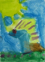"""Original Abstract Watercolor Painting """"Caterpillar"""" ACEO 6 Year Old Arti... - $7.99"""