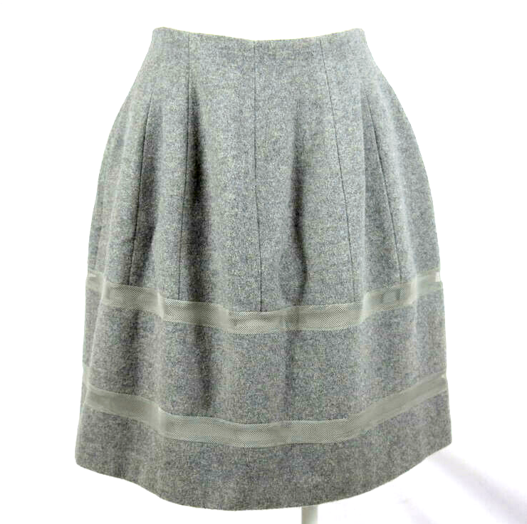 Primary image for Madewell Luxe Gray Wool Midi Tube Skirt Felt Pleated Mesh Stripes Size 2
