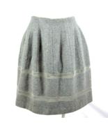 Madewell Luxe Gray Wool Midi Tube Skirt Felt Pleated Mesh Stripes Size 2 - $14.84